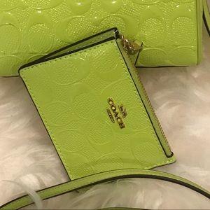 Lime green Coach coin purse 👛